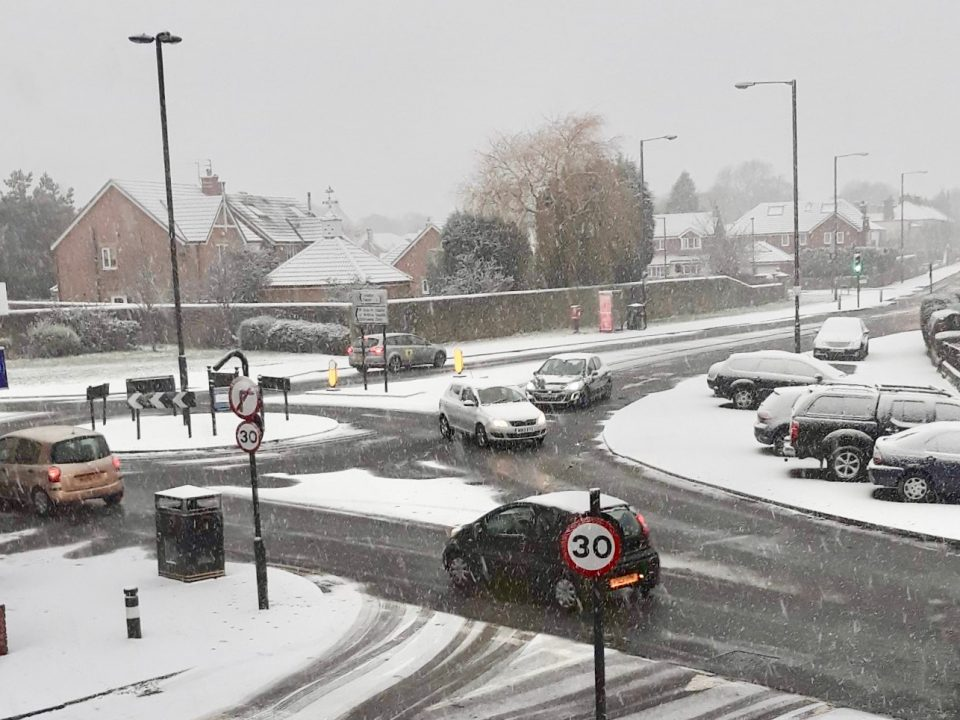 Traffic on Salters Road, Newcastle, extreme weather