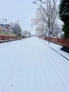 Snowy road in Newcastle, extreme weather hits Northumberland