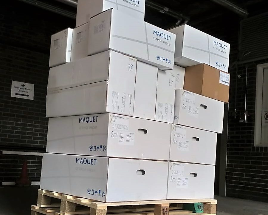 Pallet sized load of boxes. Connection Same Day Courier