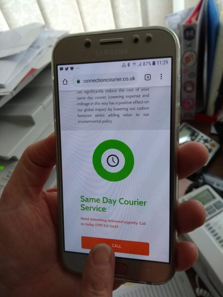 Connection Courier contact details on mobile phone